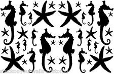 SEAHORSES STARFISH VINYL WALL DECALS 38 PCS NURSERY BATHROOM ROOM STICKER CUSTOM