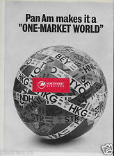 PAN AM 1965 2 PAGE PAN AM MAKES IT A ONE MARKET WORLD 707 AIRFREIGHTER  AD