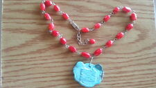 """Beautiful Sterling Silver 925 Vintage Turquoise Red Necklace 16"""" *B709"""
