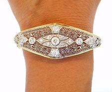 Edwardian Platinum Diamond Yellow Gold Filigree Vintage Artful Bracelet 6.5""