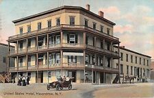 1914 Early Car United States Hotel Haverstraw NY post card Rockland County