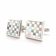 Abalone Shell with MOP Checkered  Cufflinks Cuff Links Free Same Day Shipping