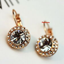 Rose Gold Filled Clear Swarovski Crystal Round Lever Back Wedding Earring XE99