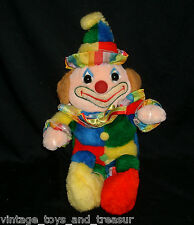 "16"" VINTAGE CUDDLE WIT CIRCUS CLOWN STUFFED ANIMAL PLUSH TOY DOLL RED BLUE GREEN"
