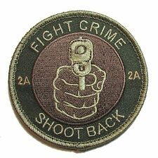 FIGHT CRIME SHOOT BACK 2ND AMENDMENT STAND GROUND MULTICAM VELCRO® BRAND F PATCH