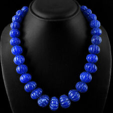 BEST TOP MARVELLOUS 918.85 CTS EARTH MINED BLUE SAPPHIRE BEADS NECKLACE STRAND