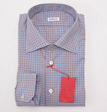 NWT $750 KITON Sky Blue-Rust Brown Check Cotton Dress Shirt Slim 18 x 37 + Box