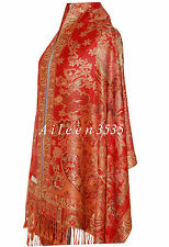 TripleLayer Sparkling55%Pashmina&45%Silk Shawl-Red