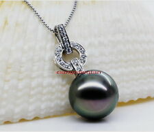 Australia Top quality NATURAL round black 14-15MM south sea PEARL 14K pendant