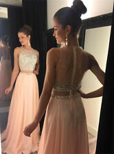 2016 Two Piece Crysatl Bead Mermaid Evening Dress Party Pageant Formal Prom Gown