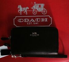 COACH CSGR Leather Double Zip IM/Black Phone Wallet/Wristlet NWT F53141