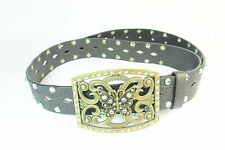 ORNATE BLACK STUDDED FAUX LEATHER BELT WITH BUTTERFLY BUCKLE (BL1)
