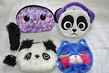"CAT KITTY BEAR PANDA  Make-up  Bag Purse 5x7"" Purple Green White Variations"