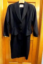 T.DEANE FORMAL BLACK EVENING BOW IN BACK SKIRT SUIT  CREPE WOOL SIZE 16
