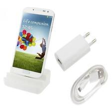 3in1 Dockingstation mit Netzteil Ladekabel für Samsung i9505 Galaxy S4 - Weiß