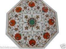 Size 1'x1' Marble Side Coffee Table Top Inlay Gem Mosaic Floral Home Decor