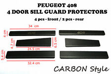PEUGEOT 408 2012- 6pcs Stainless Steel + Carbon Film Door Sill Guard Protectors