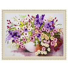 Blooming Flowers and Vase Ribbon Embroidery Kit Needlework Craft DIY Home Decor