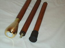 Clock Top Walking Stick 3 Part with Brown Hard Wood Shaft -Cain