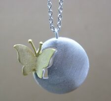 """20mm golden butterfly Real 925 sterling silver Pendant Necklace Chain 16""""-18"""""""