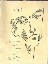 J. Cocteau 1955 signed pencil drawing on INGRES paper - 'Selfportrait II' - COA