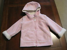 BABY GAP GIRLS PINK FAUX SUEDE LEATHER SHERPA FLEECE COAT JACKET 12-18 month EUC