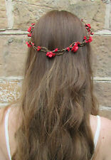 Red Rose Flower Hair Crown Wreath Garland Headband Boho Headdress Bridal X-37