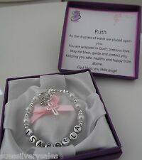 Baby girl boy Christening 1st Birthday present shower bracelet personalised box