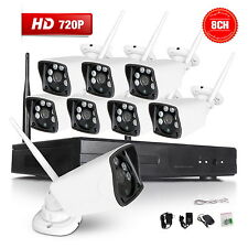 8Pcs HD 720P Outdoor P2P WIFI 8CH NVR CCTV Security Wireless IP Camera System A