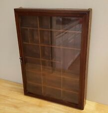 Vintage Wood Curio Display Wall Cabinet w/ Divider & Glass Door