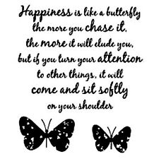 Woodware Clear Stamps Happiness is.. Inspirational Words & Butterflies
