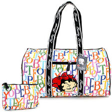 "Betty Boop Quilted Duffle Travel Bag Diaper Gym Bag -Rainbow Typo White 21"" XL"