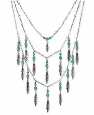 Lucky Brand Silver-Tone Blue Bead and Metallic Feather Layer Necklace