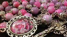 GORGEOUS DAINTY PURPLE/PINK NATURAL STONE ROSARY MADE WITH 8MM DYED WHITE JADE
