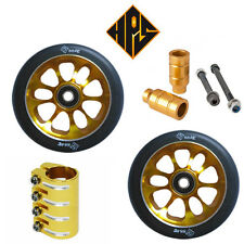 STUNT SCOOTER SET 2 110mm GOLD CORE WHEELS ABEC 11 BEARING PEGS QUAD CLAMP