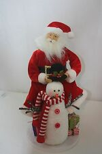 """Santa Table Piece Cloth and Porcelain NWT New 20"""" Tall 9"""" Wide Red With Snowman"""