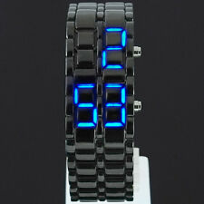 LED Digital Date Lava Faceless Iron Bracelet Samurai Watch Mens Ladies Uk Stock