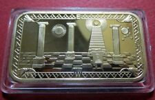 MASONIC BULLION GOLD-CLAD BAR w/ MASON's LOGO, Nice CAR DASHBOARD ATTACHMENT #3