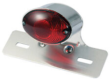 Motorcycle Rear Light - Cat Eye - Chrome with Stop/Tail Lights - Universal fit