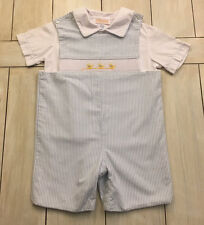 ANAVINI Blue White Seersucker Striped Shortall & Shirt ~ Smocked Ducks ~ Size 4T