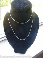 """Vintage 14K White Gold Very Fine Rope Chain - 16"""" Long (0.5 mm)"""