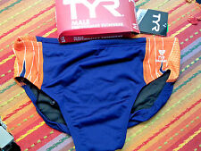 TYR Men's Phoenix Splice Swimsuit Bikini Blue/Orange Durafast Size 36 NWT/NIP