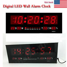 Large Big Digital Jumbo Display RED LED Desk/Wall Clock Calendar Thermometer New