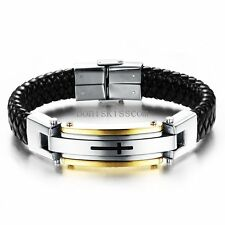 Men's Stainless Steel Cross Black Braided Leather Bracelet Cuff Bangle Wristband