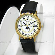Men's Movado MUSEUM CLASSIC Triple Date Calendar Moon Phase Gold Swiss Watch