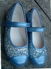 JUNIOR GIRL blue sparkle party shoe size 9½ F   (EU27.5) CLARKS