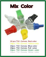 Hot sale!! Mix Color order ! 60Pcs T10 1 led Wedge Bulb 194 168 W5W Convex Side