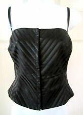 DKNY BLACK TEXTURED LINED HOOK FRONT CROPPED BUSTIER CORSET TOP 14