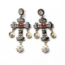 ANTHROPOLOGIE BAROQUE STYLE BLACK CROSS DROP DANGLE STATEMENT EARRINGS - NEW