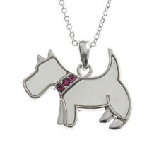 Inlaid Mother of Pearl Westie Terrier Dog Pendant Silver Chain Necklace